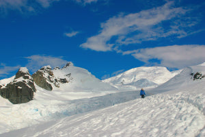 Antarctic Scenery, Snow And Blue Sky