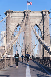 The Pedestrian Walkway Along The Brooklyn Bridge In New York Cit