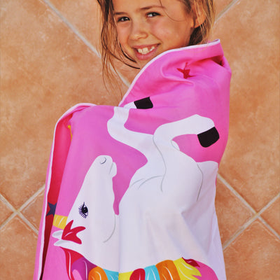 Tuvizo Unicorn Microfiber Towel  - Great Unicorn Gift for Girls - Perfect for Beach, Travel, Camping, Bath, Pool or Play - with Convenient Carry Bag (USA ORDERS ONLY)