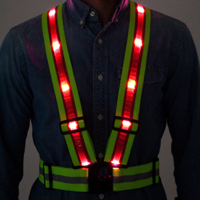 Tuvizo LED Reflective Safety Vest with Storage Bag. High Visibility Night & Day for all Outdoor Activities in Traffic (USA ORDERS ONLY)