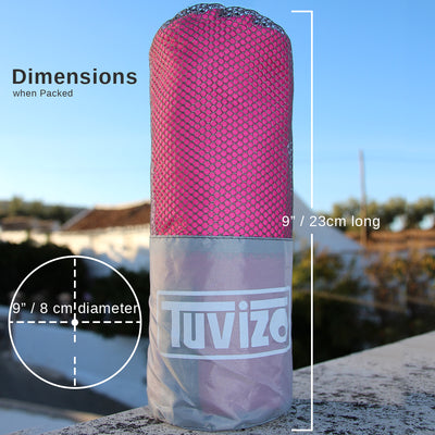 Tuvizo Microfiber Towel XL - Compact, Lightweight Beach & Travel Towel with Free Carry Bag