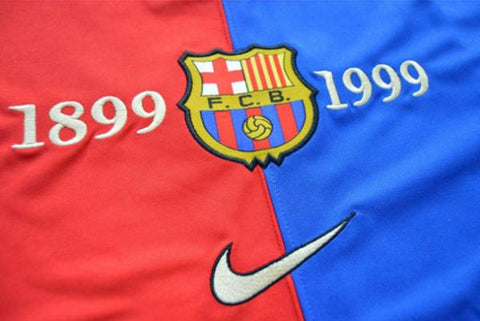 7e5c9089b ... 1999-2000 Barcelona Home 100 Year Anniversary Jersey Shirt Retro  Personalized Name and Number -