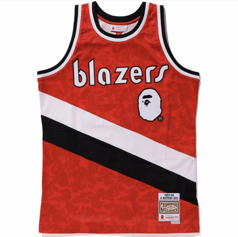 Portland Trail Blazers 8384 BAPE M&N Retro 100% Authentic Jersey
