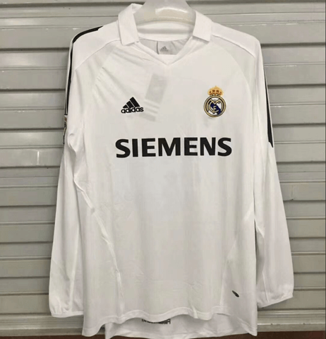 Real Madrid 2006 Home Long Sleeve Retro Men Soccer Jersey Personalized Name and Number