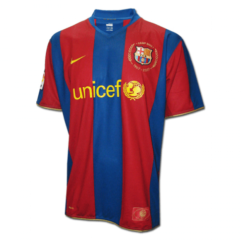 Barcelona 2007 Home Retro Men Soccer Jersey Personalized Name and Number - zorrojersey