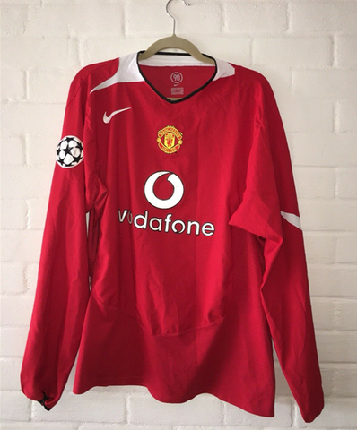 Manchester United 2004-2006 Home Long Sleeve Retro Men Soccer Jersey Personalized Name and Number - zorrojersey