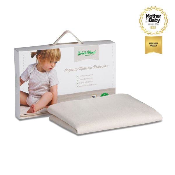 The Little Green Sheep Organic Crib Mattress Protector (38x89cm) - Twin Pack