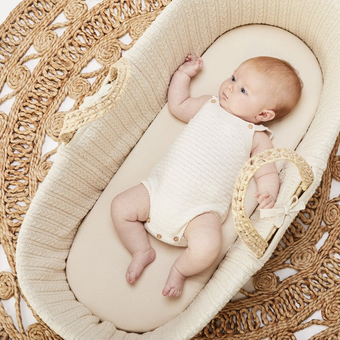 The Little Green Sheep Organic Moses Basket Fitted Sheet - Linen Delivery 1-2 weeks