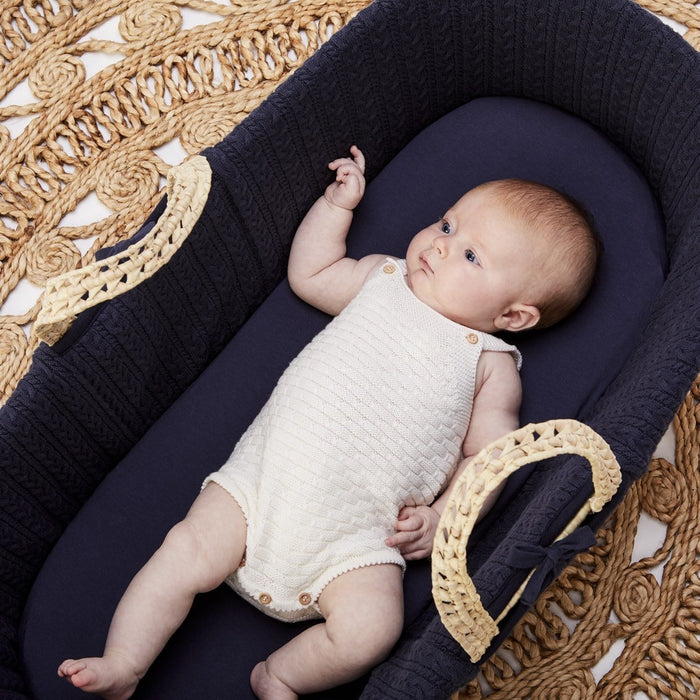 The Little Green Sheep Organic Moses Basket Fitted Sheet - Midnight Delivery 1-2 weeks