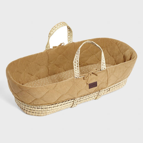 The Little Green Sheep Natural Quilted Moses Basket & Mattress - Honey Delivery 1-2 weeks