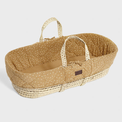 The Little Green Sheep Natural Quilted Moses Basket & Mattress - Honey Rice Delivery 1-2 weeks