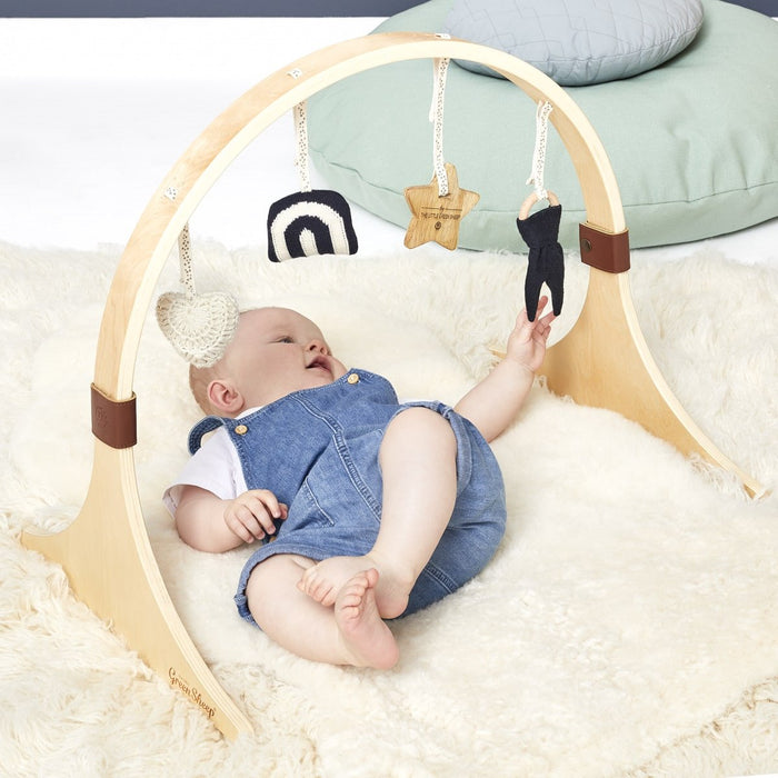 The Little Green Sheep Curved Wooden Baby Gym & Charms Set - Rainbow Midnight - Out of Stock