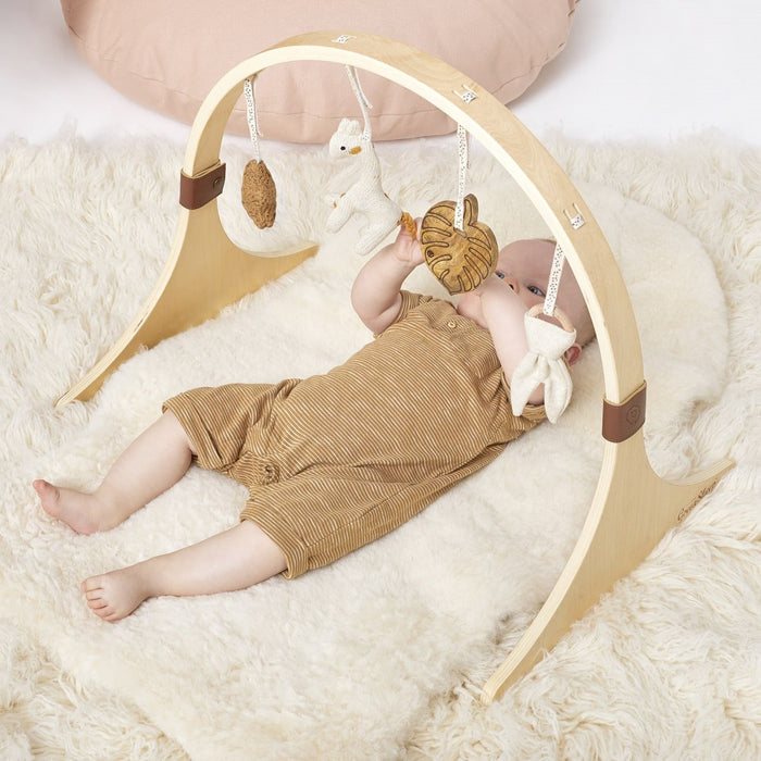 The Little Green Sheep Curved Wooden Baby Gym & Charms Set - Safari Giraffe - Out of Stock