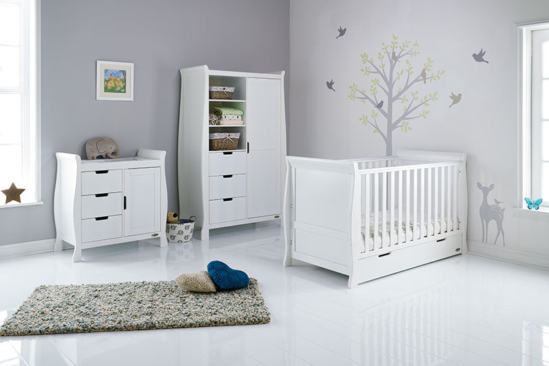 Obaby Stamford Classic Sleigh 3 Piece Room Set - White - Pre-order for August Delivery