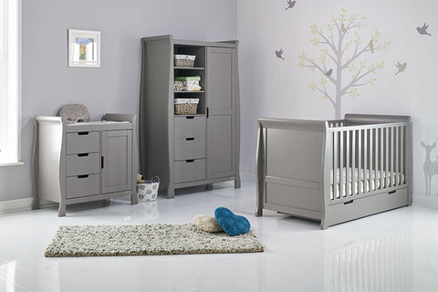Obaby Stamford Classic Sleigh Cot Bed 3 piece Room Set - Taupe Grey