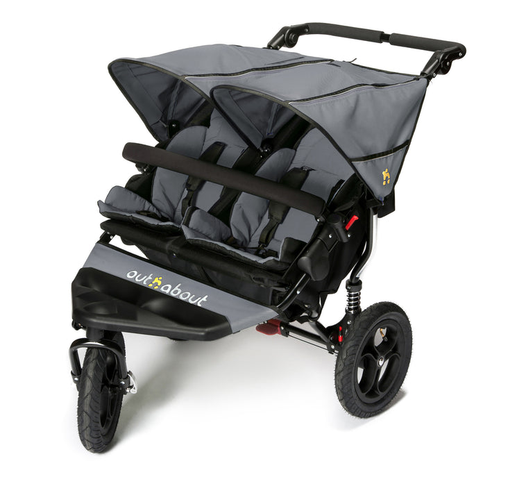 Out n About Nipper Double V4 Pushchair - Steel Grey - Early January Delivery