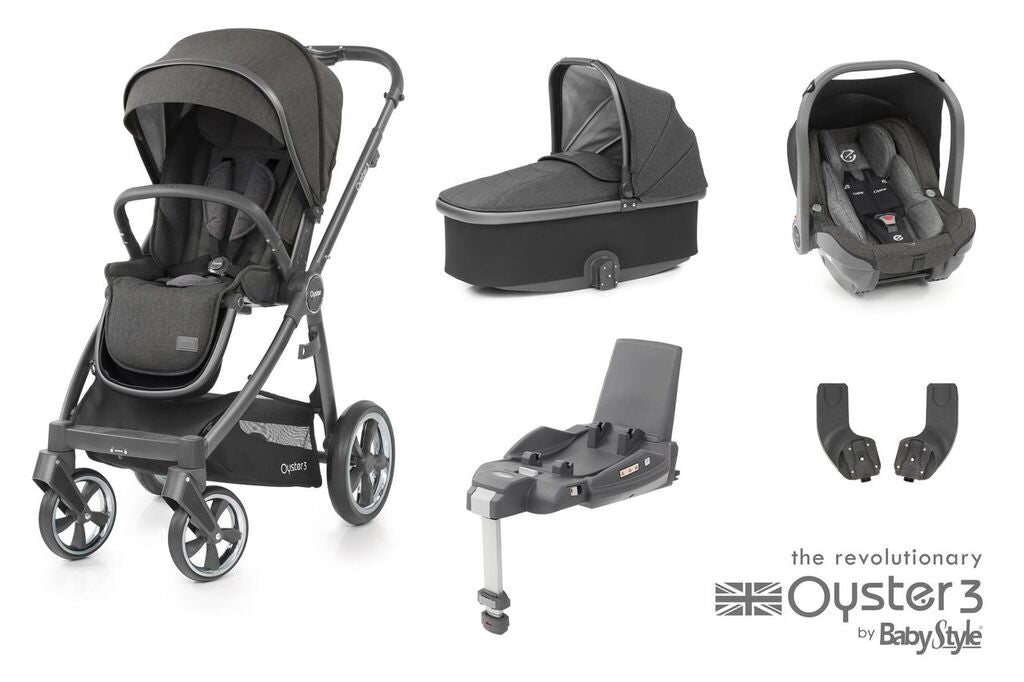 BabyStyle Oyster 3 Essential Bundle with Capsule i-Size Car Seat & Oyster Duofix Base - Pepper on City Grey Chassis - Delivery Late May