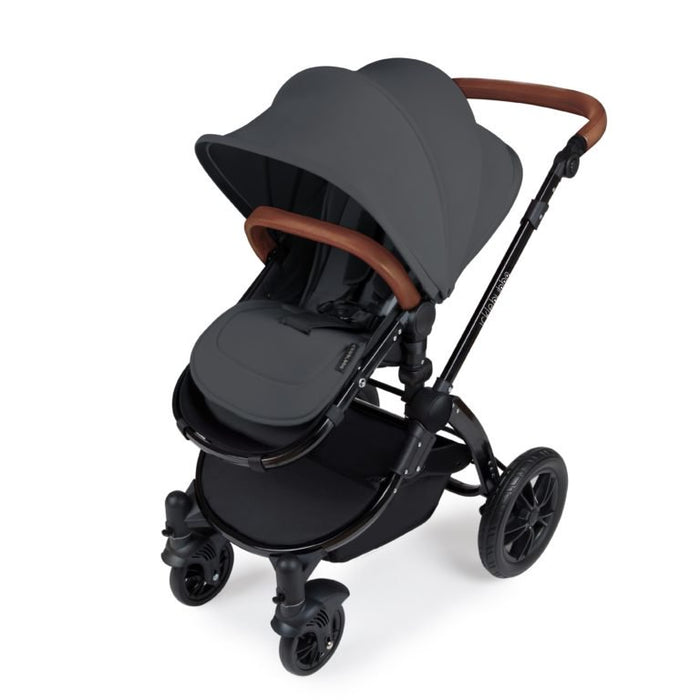 Ickle Bubba Stomp V3 All in One Travel System with ISOfix Base - Graphite with Black Frame/Tan Handle
