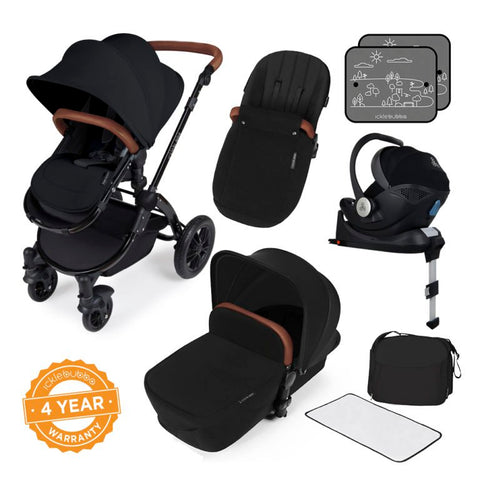 Ickle Bubba Stomp V3 i-Size All in One Bundle - Black/Black with Tan Handle - Delivery Mid February 2020