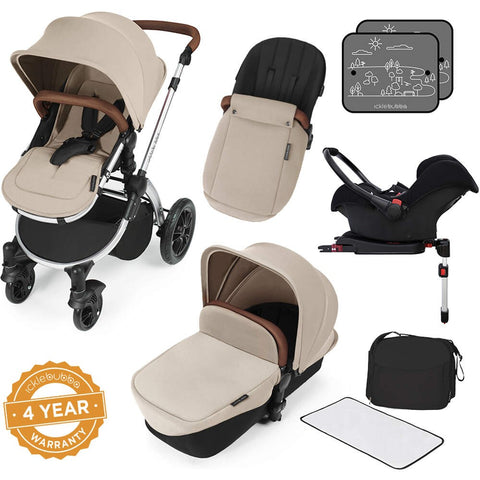 Ickle Bubba Stomp V3 All in One Travel System with ISOfix Base - Sand with Silver Frame/Tan Handle - End of June Delivery