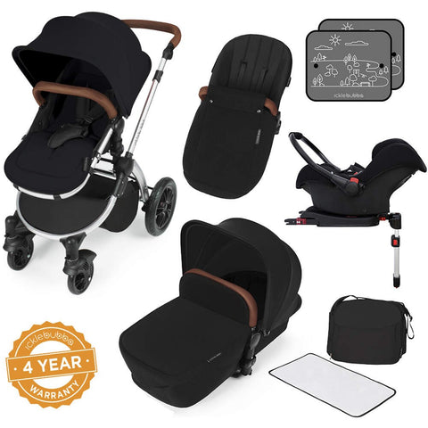 Ickle Bubba Stomp V3 All in One Travel System with ISOfix Base - Black with Silver Frame/Tan Handle