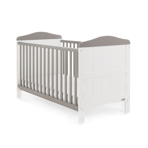 Obaby Whitby Cot Bed White with Taupe Grey