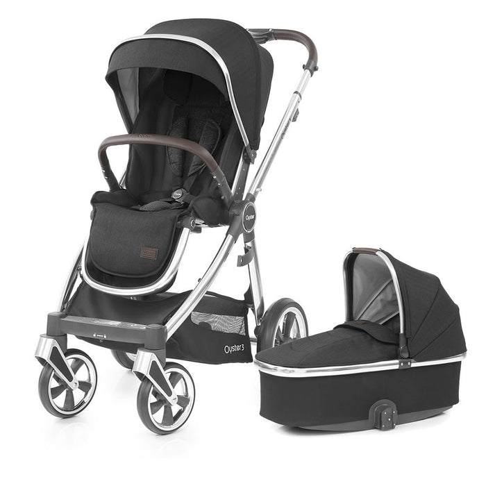 BabyStyle Oyster 3 Pushchair & Carrycot - Caviar on Mirror Chassis - Delivery Late Dec