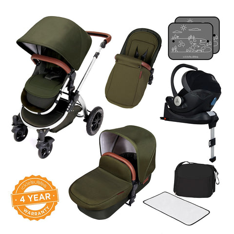 Ickle Bubba Stomp V4 i-Size Travel System - Special Edition Woodland Chrome - Delivery with 5 working days