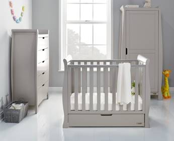 Stamford Space Saver Cot 100x50cm with Under Drawer - Warm Grey