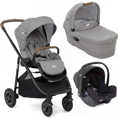 Joie Versatrax Pushchair & Carrycot & i-Snug Car Seat - Grey Flannel - Mid May Delivery