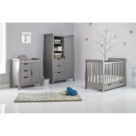 Obaby Stamford Classic Sleigh Mini Cot Bed 3 piece Room Set - Taupe Grey