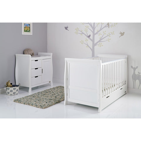 Obaby Stamford Classic Sleigh Cot Bed 2 piece Room Set - White