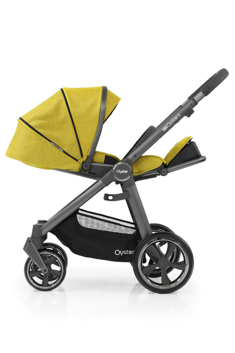 NEW BabyStyle Oyster 3 Essential Bundle with Capsule i-Size Car Seat & Duofix Base - Mustard on City Grey Chassis - Delivery Early July