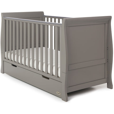 baby Stamford Classic Sleigh Cot Bed - Taupe Grey