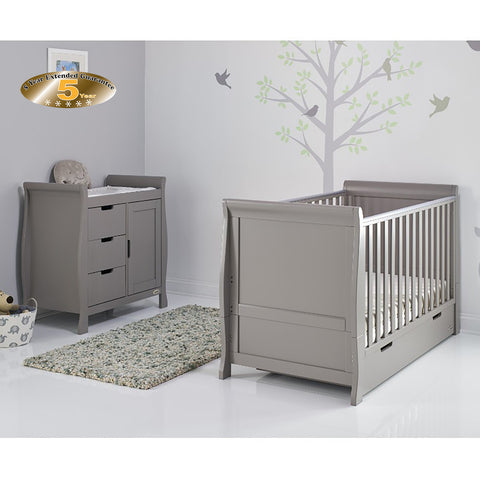 Obaby Stamford Classic Sleigh Cot Bed 2 piece Room Set - Taupe Grey