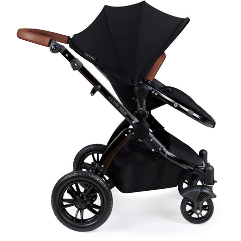 Ickle Bubba Stomp V3 2 in 1 Pushchair & Carrycot - Black/Tan Handle -