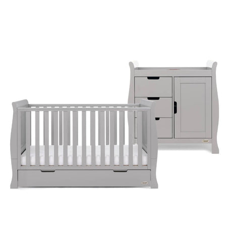 Obaby Stamford Classic Sleigh Cot Bed 2 Piece Room Set - Warm Grey
