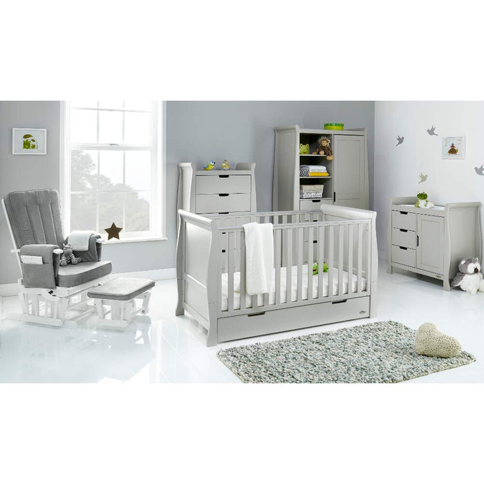 Obaby Stamford Classic Sleigh Cot Bed 5 piece Room Set - Taupe Grey - Delivery Late April