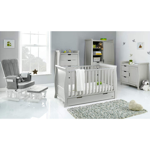 Obaby Stamford Classic Sleigh Cot Bed 5 piece Room Set - Taupe Grey