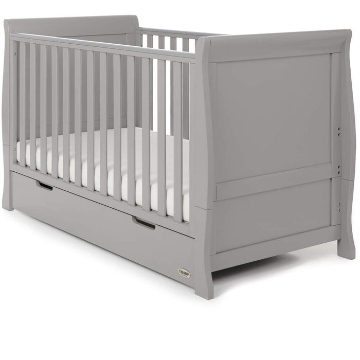 Obaby Stamford Classic Sleigh Cot Bed 5 piece Room Set - Warm Grey - Delivery Late April