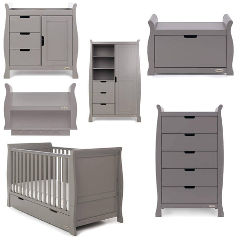 Obaby Stamford Classic Sleigh Cot Bed 7 piece Room Set - Taupe Grey