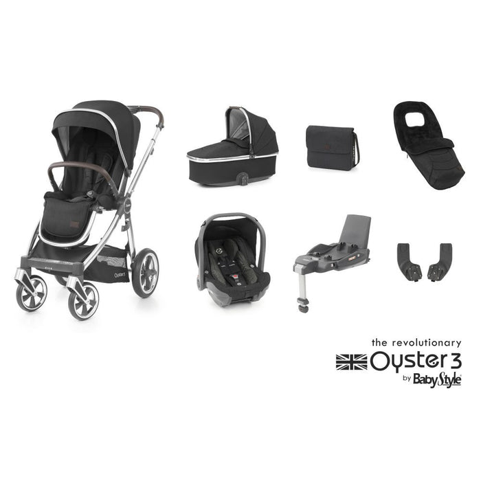 BabyStyle Oyster 3 Luxury Bundle with Capsule i-Size Car Seat & Oyster Duofix Base - Caviar on Mirror Chassis - Delivery Late Nov
