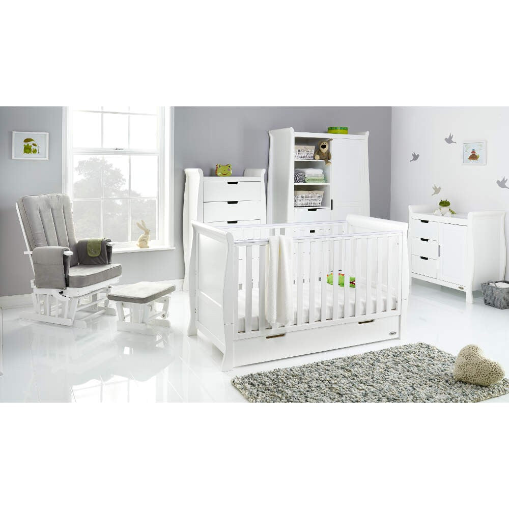 62e4c98749a9 Obaby Stamford Classic Sleigh Cot Bed 5 piece Room Set - White - Delivery  Early August