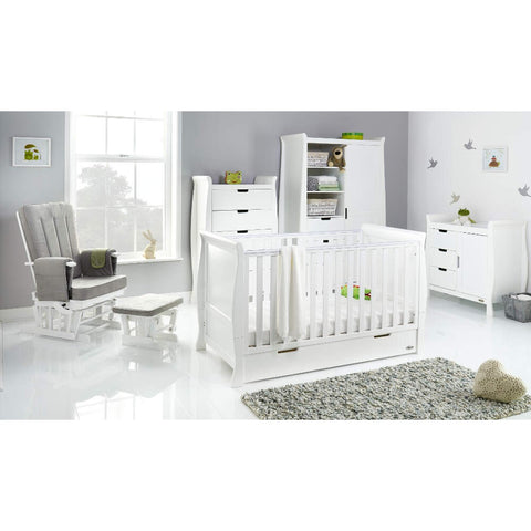 Obaby Stamford Classic Sleigh Cot Bed 5 piece Room Set - White