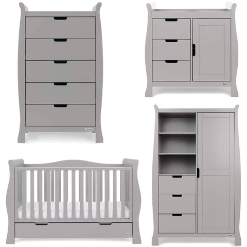 OBaby Stamford Luxe 5 Piece Room Set including Deluxe Glider Chair - Taupe Grey