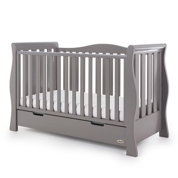 Obaby Stamford Luxe Sleigh Cot Bed - Taupe Grey - November Delivery