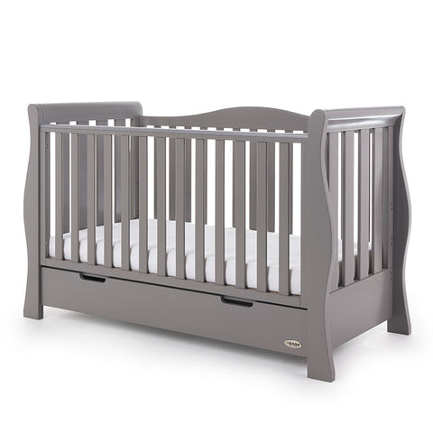 Obaby Stamford Luxe Sleigh Cot Bed - Taupe Grey