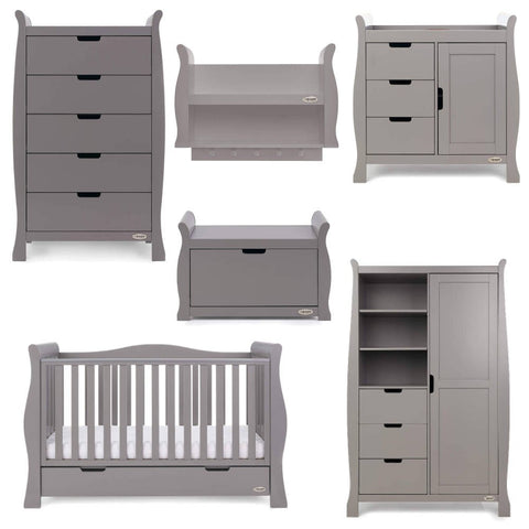 OBaby Stamford Luxe 7 Piece Room Set including Deluxe Glider Chair - Taupe Grey