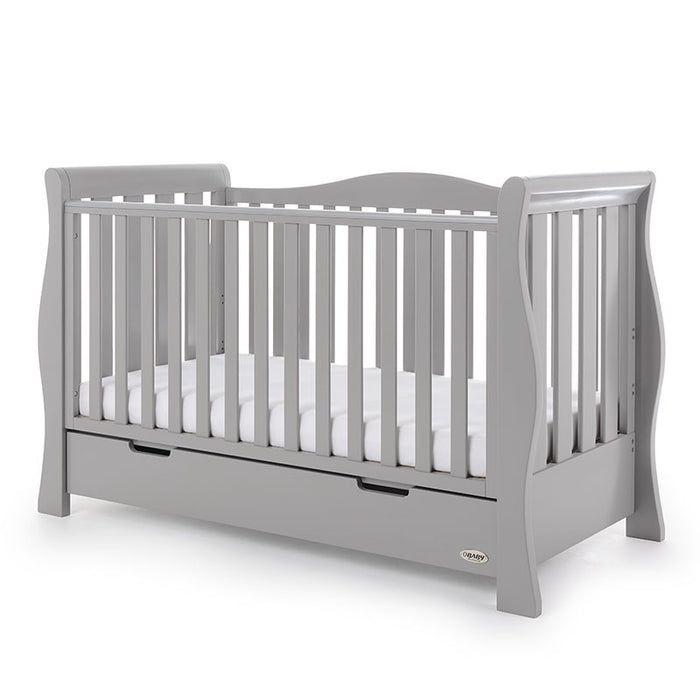 Obaby Stamford Luxe Sleigh Cot Bed - Warm Grey - October Delivery