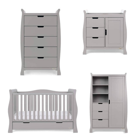 OBaby Stamford Luxe 4 Piece Room Set - Warm Grey